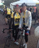 Catherine Naylor and Nicholas Allan embark upon their ride to raise money for the Chris O'Brien Lifehouse at RPA.