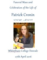 Booklet from Patrick Cronin's funeral.