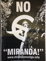 One of the posters in the #MirandaMustGo campaign