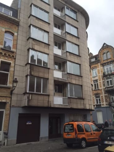 The apartment block on Rue Max Rose in Brussels where a taxi driver picked up a group of suicide bombers on Tuesday morning, and where police later found a bomb making laboratory.