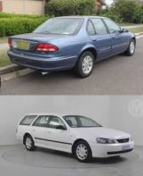 The blue Ford Fairmont found on Saturday pictured above. Jonathan Dick's other car, a white station wagon, was found dumped before the his brother's death.