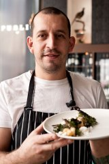 Public Bar and Restaurant head chef Damon Amos shows off a former favourite - wood-roasted scorpions with ˜lobster snow, seaweed, pickled ginger foam and scampi.