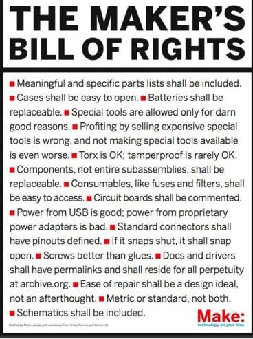 <i>Make</i> magazine's Maker's Bill of Rights.