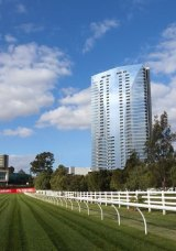 An artist's impression of planned apartment towers at Flemington Racecourse.