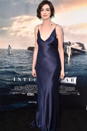 Anne Hathaway wearing a Richard Nicoll slip dress.