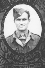 War hero: George Poulos as a Greek soldier.