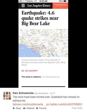 Quakebot reports on an LA earthquake.