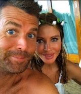 Pete Evans with wife Nicola Robinson at their farm in Northern NSW.