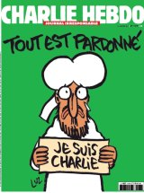 """The cover of the Charlie Hebdo edition  immediately after the attack on the magazine's offices that killed 12 people a year ago, drawn by """"Luz""""."""