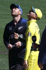 Captains Michael Clarke and Brendon McCullum toss the coin before the start of the Cricket World Cup final.