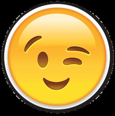 A give-away? The winking face emoticon