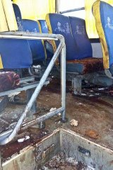 The gruesome aftermath inside the bus.