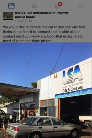 One of the cars offered for donation via social media.