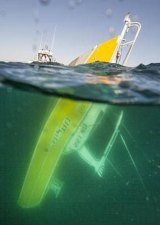 The support vessel slips below the surface during the Rottnest swim.