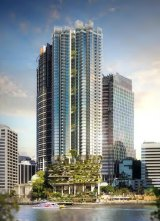 Artists' impression of the proposed 443 Queen Street building, as seen from Kangaroo Point.
