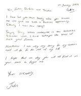 John Hartman's handwritten apology to his Orion bosses after being caught.