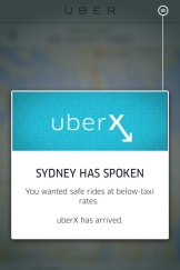 A message that appeared on the Uber app on Wednesday evening.
