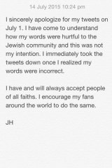 Apologetic: The note Jarryd Hayne posted to his Twitter account.