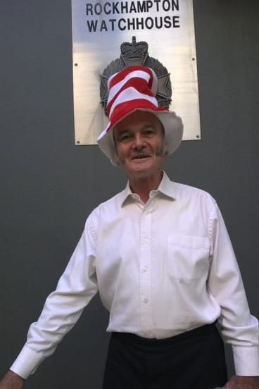 """""""Cat in the Hat"""" Nick Deane and outside Rockhampton Watchouse."""