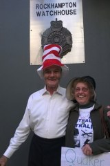 """Cat in the Hat"" Nick Deane and ""Quaker Granny"" former WA senator Jo Valentine outside Rockhampton Watchouse."