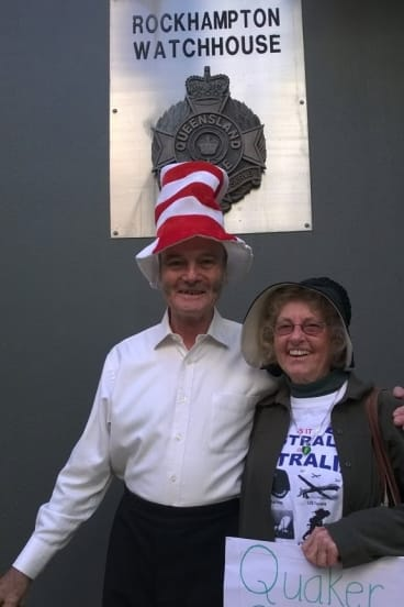 """Cat in the Hat"" Nick Deane and ""Quaker Granny"" former WA senator Jo Valentine outside Rockhampton Watchouse."