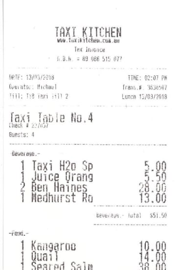 Receipt for lunch with Geoffrey Robertson.