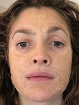 Drew Barrymore tests out the now famous mask on Instagram.