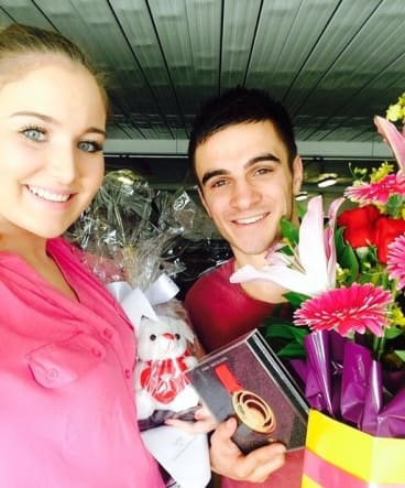 Australian Commonwealth Games gold medal boxer Andrew Moloney and fiancee Chelsea-Madeleine Kean.