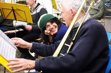 In tune: Trombone player Mel Willard shares a laugh with Jim Foley from the Thompson's Foundry Band.