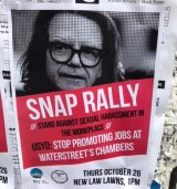 "Posters bearing Charles Waterstreet's image appeared at the University of Sydney on Thursday advertising a snap rally to ""stand against sexual harassment in the workplace""."