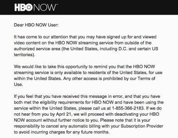 The email sent to Australian HBO Now users.