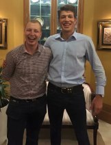 Mr Fitton, right, celebrating the victory with colleague Dean Shachar, who also works for NSW MP Mark Taylor.