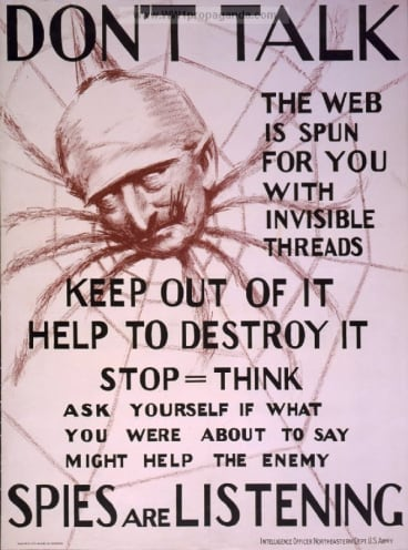 Invisible threads: A spy warning from World War I.