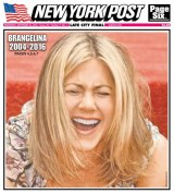 The <i>New York Post</i> caused outrage by putting a laughing Aniston on their front cover on Wednesday.