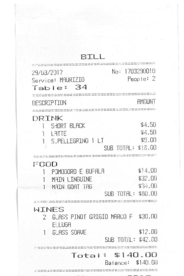 Receipt for lunch at Sosta Cucina.