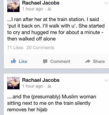The message posted on Rachael Jacobs' Facebook page.