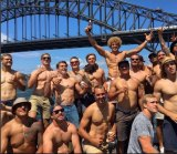 A photo Mitchell Pearce posted on Instagram of his team-mates on  the cruise on Sydney Harbour on Australia Day.