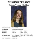 Joshua Maddux's missing person's poster.