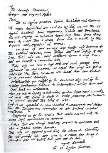 Copy of a letter written on behalf of 65 asylum seekers from Sri Lanka, Bangladesh and Myanmar to Ammesty International.