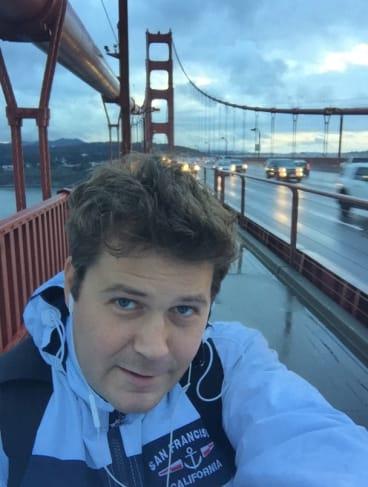 Ben Farrell travelling in San Francisco, California.