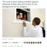 Barack Obama's tweet invoking Nelson Mandela in the aftermath of the Charlottesville neo-Nazi, alt-right violence and Donald Trump's failure to condemn the perpetrators.