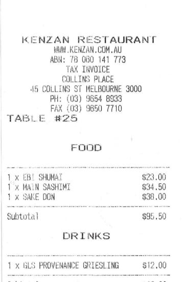 Receipt for lunch with Joanna Murray-Smith