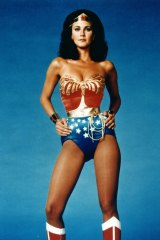 Lynda Carter as Wonder Woman before the pink makeover.