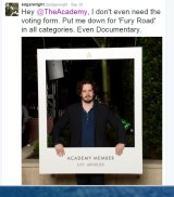 Edgar Wright lends his support to <i>Mad Max: Fury Road</i> on social media.