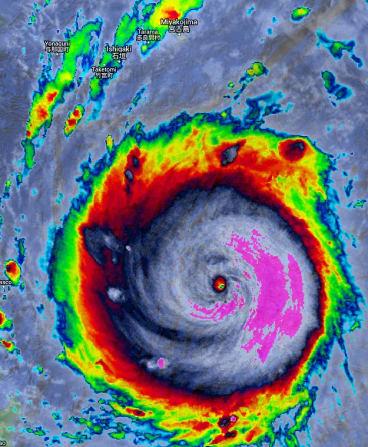 Super typhoon Nepartak barrels towards Taiwan in July this year.