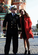 Scott Kelly and partner Amiko in Red Square, Moscow.