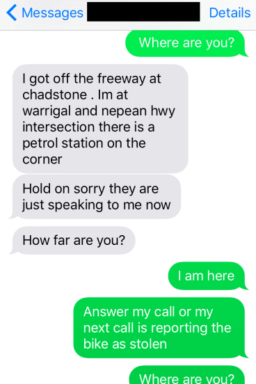 Texts sent by the bike thief during a test ride gone wrong.