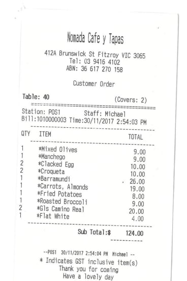 Receipt for lunch with Lynley Marshall at Nomada