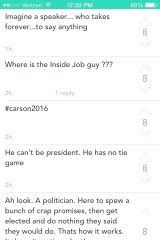 Some of the Yik Yak posts from Liberty University during the speech by Ted Cruz.