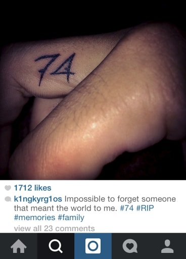 Nick Kyrgios' tattoo honours the memory of his grandmother.